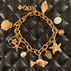 Betsy Johnson Gold Nautical Mermaid Charm Bracelet